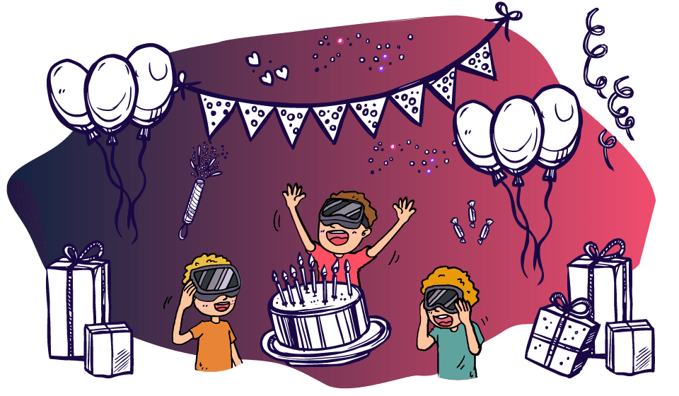 Дети празднуют День Рождения в кафе Виртуальной Реальности